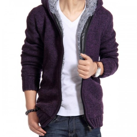 Men's Fashion Design Solid Color Flannel Zippered Knitted Hoodie (2)-500x500